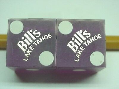Pair of BILL'S CASINO Lake Tahoe, NV Dice Purple VINTAGE