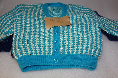 x 4 hand knitted new baby jumpers cardigan hoodie 00 & 9-12 months bulk  lot