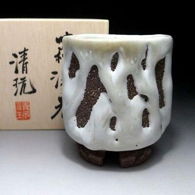 GK8: Japanese Large Pottery tea cup, Hagi Ware by Famous potter, Seigan Yamane