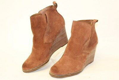 Lucky Brand Womens 7.5 M 37.5 Suede Booties Wedges Ankle Boots nu