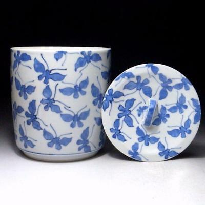 KN5: Japanese Tea Ceremony Mizusashi, Water Container, Kyo ware,  Butterfly