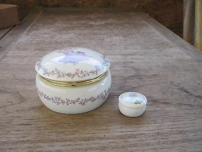 "Two Precious Moments/Enesco Round Porcelain Trinket Containers, 3 3/4"" & 1 1/4"""