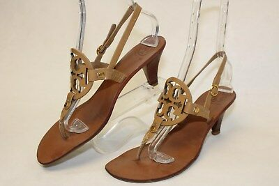 Tory Burch Holly 2 Womens 9.5 M Nude Patent Leather T-Strap Sandals Shoes hc