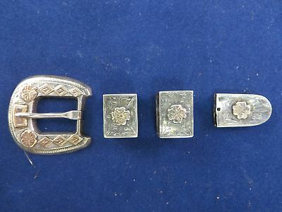 Vintage Ranger Buckle Set, Sterling Silver And 10K Gold Marked