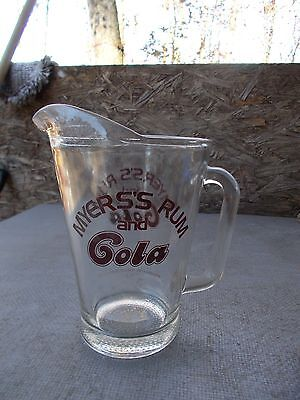 MYERS'S RUM and COLA Pitcher.. Bottled in Baltimore, MD.. 2 Quart??..Good Cond.