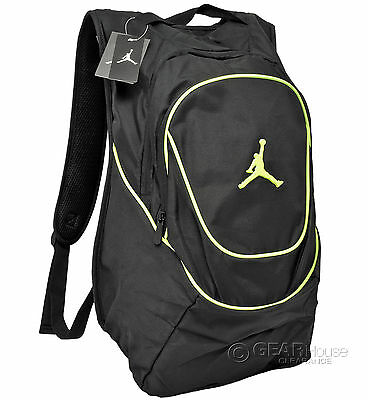 New Nike Air Jordan Jumpman Backpack Bookbag Laptop Sleeve Mens Adult Black Volt