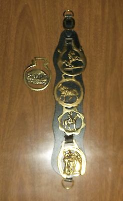 5 Vintage Brass Horse Horseshoes Medallions Leather Strap Harness - 1 Peerage