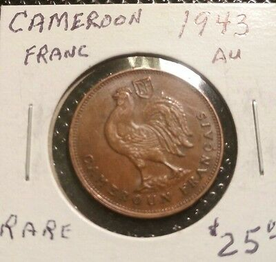 Rare~ French Cameroon (Cameroun)  AU 1943. 1 Franc Coin KM #5 Rooster