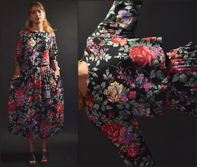 Vtg 90s blk romantic FLORAL two piece ROSES cropped blouse + maxi pleated skirt
