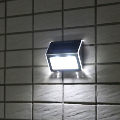 2X Stainless Steel Waterproof Solar Power LED Garden Outdoor Wall Light Lamp