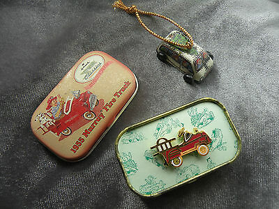 HALLMARK 1993 TIN MINIATURE VAN ORNAMENT #1 and 1955 MURRAY FIRE PIN   - Q172