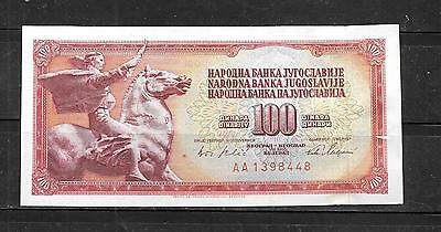 YUGOSLAVIA #80c 1965 VF CIRC OLD 100 DINARA BANKNOTE PAPER MONEY CURRENCY NOTE