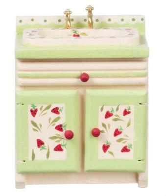 Melody Jane Dolls House Strawberry Sink Unit Hand Painted 1:12 Kitchen Miniatur