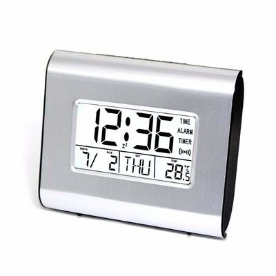 LCD Digital Date Alarm Clock Snooze Thermometer Table Desktop With Night Light