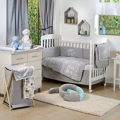 Brand New  Grey Elephant Patchwork 4 Piece  Bedding Cot Set