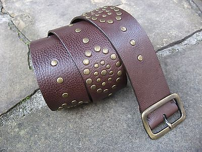 S/M - Wide Brown Leather Belt womens with patterned gold stud effect