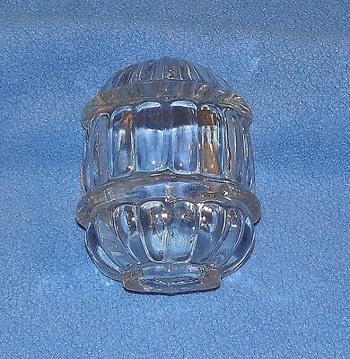 Vintage Clear Art Deco  Glass  Bird Cage Water Bowl  Feeder