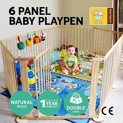Baby Kids Toddler Deluxe Natural Wooden Playpen Divider Safety Gate 6 Panel
