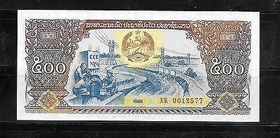 LAOS LAO #31a 1988 MINT CRISP OLD 500 KIP LARGE BANKNOTE BILL NOTE CURRENCY