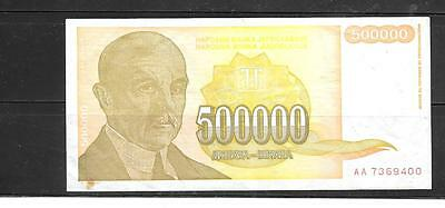 YUGOSLAVIA #143a 1994 VG USED 500000 DINARA BANKNOTE PAPER MONEY CURRENCY NOTE