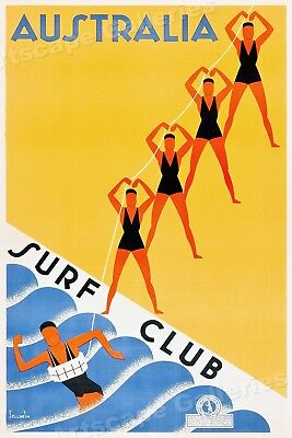 1936 The Australian Surf Club Vintage Style Travel Poster - 20x30