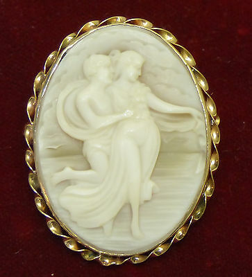 Antique 14K Gold Carved Shell Cameo Brooch Pendant w Classical Couple by the Sea