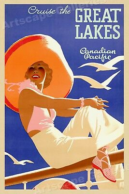 1934 Cruise the Great Lakes Vintage Style Canadian Travel Poster - 20x30
