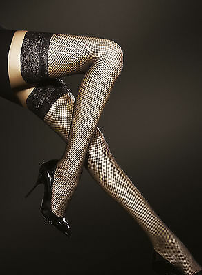 Obsession Liza Fiore Fishnet Lace Top Hold Ups Stay Ups Stockings 4 Colours