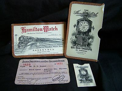 3 Lot Hamilton Watch Celluloid Railroad Pass & Stamp Case~1928 A.b.& C Rlwy Pass