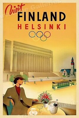 Visit Finland 1940s Vintage Style Olympic Travel Poster - 20x30