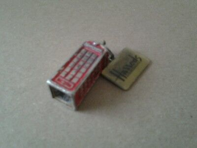 HARRODS Keychain LONDON 3D Phone Box RED TELEPHONE BOOTH UK part of a  Key Ring