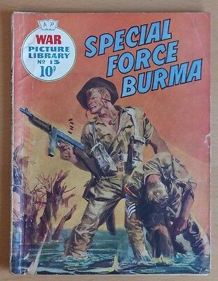 """WAR PICTURE LIBRARY # 13 """"Special Force Burma"""" original 1959 10d printing."""