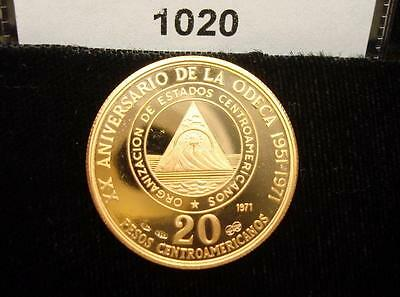 Central American States 20 Pesos, 1971, 20th Anniversary of ODECA, Coin #1020