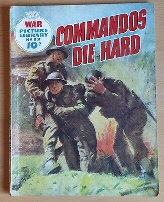 """WAR PICTURE LIBRARY # 17 """"Commandos Die Hard"""" original May 1959 10d printing."""