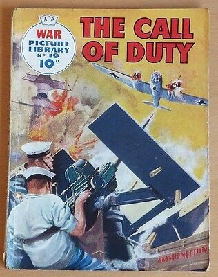 """WAR PICTURE LIBRARY # 19 """"The Call of Duty"""" original June 1959 10d printing."""