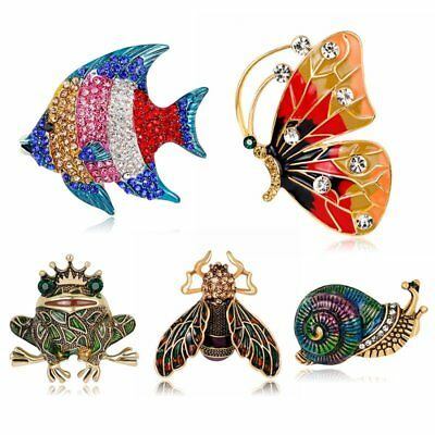 Vintage Butterfly Fish Crystal Brooch Pin Broach Women Christmas Party Jewelry