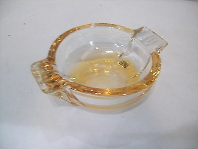 "Vintage Carnival Glass Amber Peach Marigold Art Deco Style Ashtray 5"" x 1.5""H"
