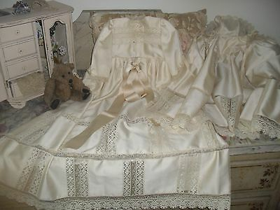 Gorgeous Vintage Unused Christening Gown & Cape Baby Or Doll.