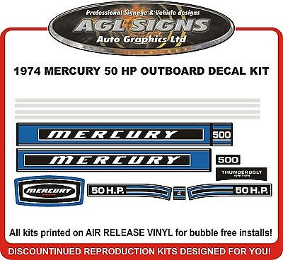 1974 MERCURY 50 HP  500 OUTBOARD DECAL KIT  reproductions stickers