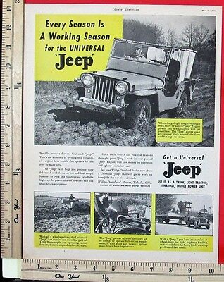 1946 WILLYS-OVERLAND Universal Jeep truck farm tractor Magazine Print Ad 9057