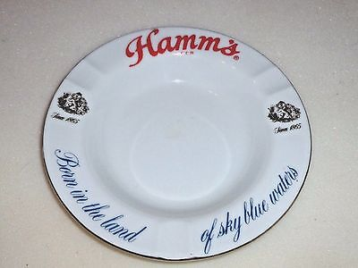 """VINTAGE UNUSED Hamm's Beer Ash Tray """" Born In The Land of Sky Blue Waters"""""""
