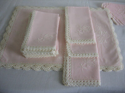 Vintage Irish Linen Table Set 17 Pieces Hand Embroidered Lace Edges  Pale Pink