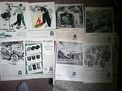 "50 QUAKER STATE GAS & OIL 10x14""  MAGAZINE ADS 1940s-  20c ea GREAT ART"