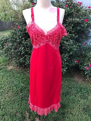 Vintage Ladies' Red Nylon Full Slip With Lace Trim