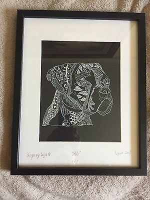 Unique Handdrawn Zentangle White ink on Black Dog A4 Commissioned Piece offered