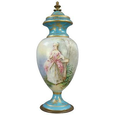 Antique Sevres Hand-Painted and Gilt Porcelain and Bronze Portrait Cabinet Urn