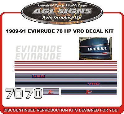 1989 1999 1991 EVINRUDE 70 HP VRO DECAL KIT  Reproductions  60 75 hp also