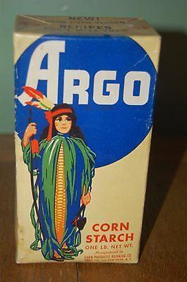 Vintage one pound Argo Corn Starch in unopened Box with indian woman on front