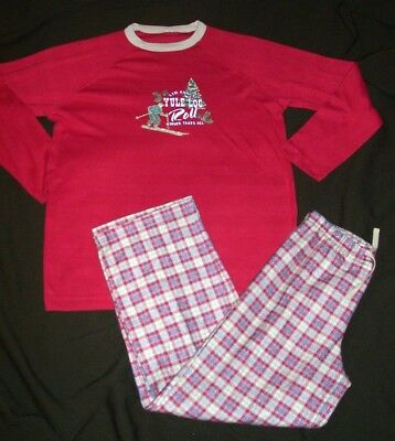 Boys Size Large 12 Red Plaid Flannel Holiday Christmas Pajamas Set FREE SHIPPING