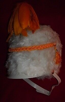 Vintage White Faux Fur Band Hat With Yellow & Gold Color Accents Size Small